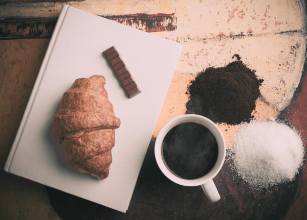 croissant chocolate and coffee